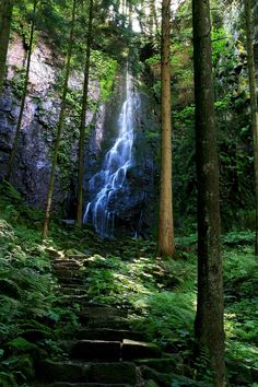 Burgbach Waterfall in Bad Rippoldsau, Black Forest, Germany