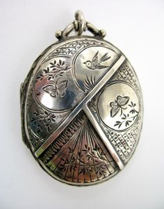 love this vintage victorian sterling silver locket. don't dig the butterflies, tho, but it has so much character! Victorian Jewelry, Antique Jewelry, Silver Jewelry, Vintage Jewelry, Jewlery, Vintage Pins, Vintage Stuff, Victorian Era, Antique Locket