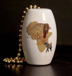 African Animals Porcelain Fan / Light Pull