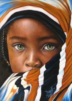 unusual green eyes on silky dark skin...