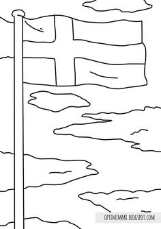 The Flag (a coloring page) / Lippu (värityskuva) Flag Coloring Pages, Free Coloring, Colouring, Finnish Independence Day, Finland Flag, Best Flags, Jamaica Flag, Flag Colors, Crafts For Kids