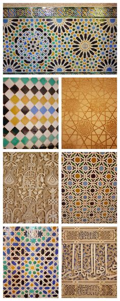 Patterned tiles and carvings at the Alhambra