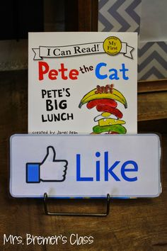 Perfect for the classroom library! Students recommend books to their friends using a plate holder and 'Like' sign.
