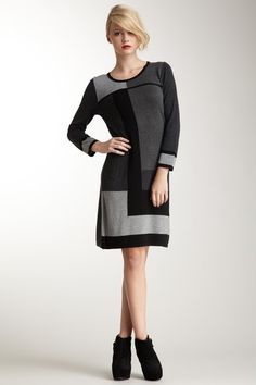 spense 3/4 length sleeve intrasia Knit Dress