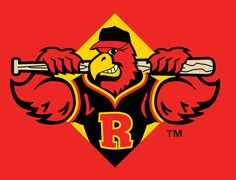 images of the red wings logos | Rochester Red Wings Cap Logo (1997) - (Home) A bird holding a bat ...