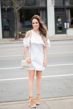 Elle Harper : White, Ruffle Dress for $39!!