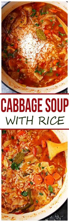 Yummy Vegan Weight Loss Recipes for Dinner [Healthy, Fat Burning] Cabbage Soup with Rice - Healthy, hearty and delicious cabbage soup with rice and vegetables.Cabbage Soup with Rice - Healthy, hearty and delicious cabbage soup with rice and vegetables. Cabbage Recipes, Soup Recipes, Vegetarian Recipes, Dinner Recipes, Cooking Recipes, Healthy Recipes, Rice Recipes, Recipies, Healthy Soups