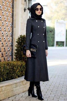Turkish Hijab Style, Turkish Fashion, Hijab Style Dress, Casual Hijab Outfit, Outfits 2016, Chic Outfits, Fashion Outfits, Simple Long Dress, Muslim Women Fashion