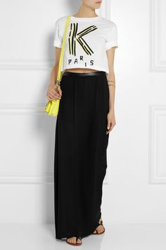 Karl Lagerfeld | Bracha faux leather-trimmed georgette maxi skirt | NET-A-PORTER.COM