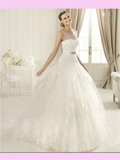 White Ball Lace Tulle 2013 Wedding Dress AWD420206