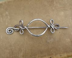 Celtic Open Eye With A Twist Aluminum Shawl Pin, Hair Pin, Scarf Pin, Barrette…