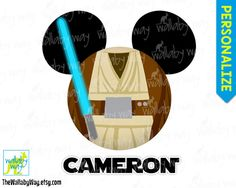 Obi-Wan Kenobi Jedi Mickey Head Star Wars Disney Printable Iron On Transfer or Use as Clip Art - DIY Disney Shirt Mickey Ears Star Wars