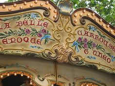 Arts and craft lettering on La Belle Epoque carousel in Avignon, France.