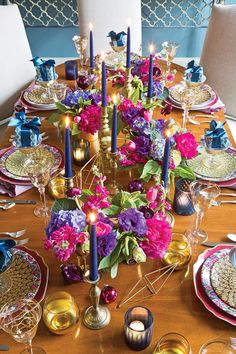 Super colorful A Crown Jewels-inspired Setting for the Holidays - The Ribbon in My Journal - Phyllis Hoffman DePiano Jasmin Party, Arabian Nights Party, Wedding Decorations, Christmas Decorations, Jewel Tone Wedding, Beautiful Table Settings, Deco Table, Decoration Table, Jewel Tones