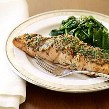 Image of Grilled Salmon with Mustard Herb Crust - I put my salmon in foil pockets to lock in the juices!