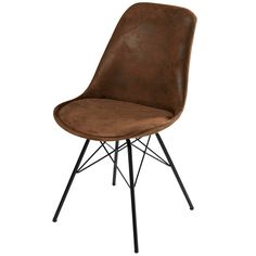 Brown micro-suede and black metal chair