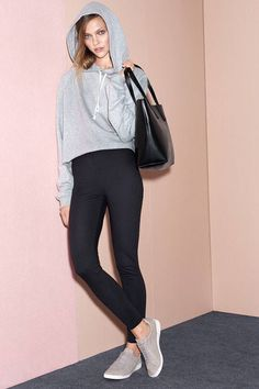 H&M Hooded Short Top, Jersey Leggings and Shopper with Clutch Bag