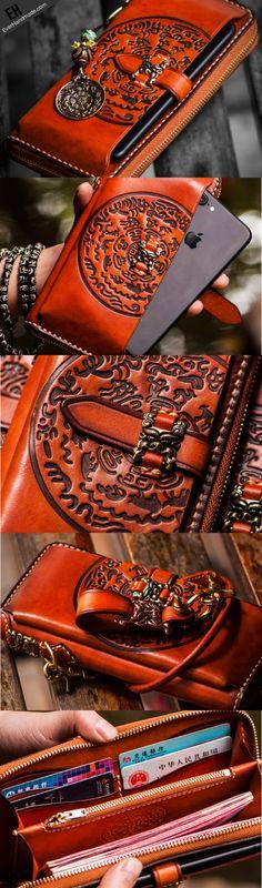 Handmade leather hieroglyph biker wallet clutch zip long wallet Leather Wallet Pattern, Slim Leather Wallet, Leather Briefcase, Leather Purses, Leather Men, Leather Wallets, Men's Briefcase, Pink Leather, Brown Leather