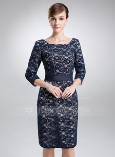 Sheath/Column Square Neckline Knee-Length Charmeuse Lace Mother of the Bride Dress (008006193)
