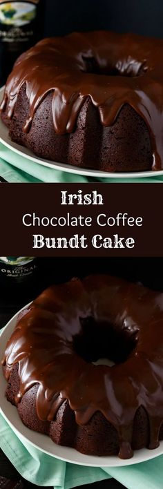 Double chocolate cake with a rich chocolate glaze, this Irish Chocolate Coffee Bundt Cake is the ultimate St. Patrick's Day treat. via @Baked by an Introvert