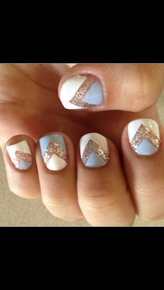 Nails. Fancy Nails, Cute Nails, Pretty Nails, Mani Pedi, Manicure, Gliter Nails, Gold Chevron, Nail Fashion, Cute Nail Designs