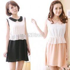 $8.50 Korea Women Summer Doll Collar Lace Splicing Chiffon Sleeveless Mini Dress