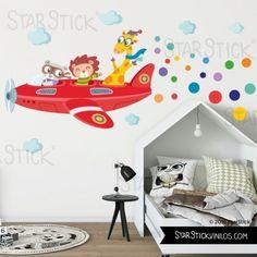 Vinilo niño Avión rojo con animales - Vinilos infantiles Kids Bedroom, Bedroom Wall, Kindergarten Design, Daycare Rooms, Wall Drawing, Kids Room Design, Mural Painting, Boy Room, Toddler Bed