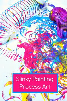 This is so cool and creates amazing art work! Slinky Painting-Super fun process art for kids Painting Activities, Art Activities For Kids, Creative Activities, Preschool Arts And Crafts, Crafts For Kids, Preschool Kindergarten, Art Crafts, Painting For Kids, Art For Kids