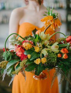 Wild orange + pink arrangement