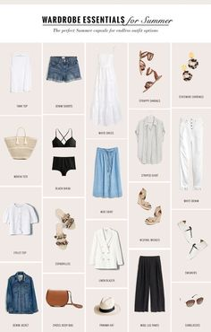 The Perfect Capsule Wardrobe for Summer - gaby burger French Capsule Wardrobe, Wardrobe Basics, Summer Wardrobe, Wardrobe Ideas, Work Wardrobe, Professional Wardrobe, Wardrobe Closet, Minimal Wardrobe, Classic Wardrobe