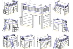 Playhouse Loft Bed Instruction Set Digital Copy by KatsCraftings Bunk Bed Playhouse, Bunk Beds, Queen Loft Beds, Hogwarts Houses Crests, House Worth, Dollhouse Kits, How To Make Bed, Play Houses, Beautiful Homes