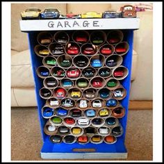 Cowie's Craft And Cooking Corner: Hot Wheels Car Storage Center From Toilet Paper Rolls