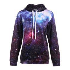 23.27$  Buy here - http://dix6o.justgood.pw/go.php?t=202776202 - Galaxy Sky Print Kangaroo Pocket Hoodie