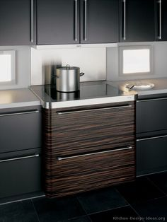 #Kitchen Idea of the Day: Modern Two-Tone Kitchen (By ALNO, AG) featuring backsplash windows.