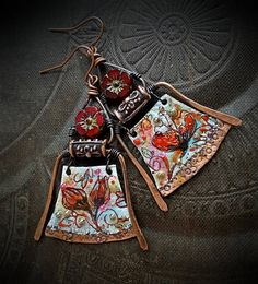 Enameled Charms Enameled Earrings Poetic Bohemian Gypsy