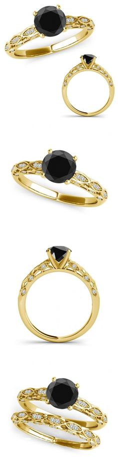 Other Engagement Rings 164308: 2.15 Ct Black Diamond Vintage Design Solitaire Bridal Ring Band 14K Yellow Gold -> BUY IT NOW ONLY: $769.23 on eBay!