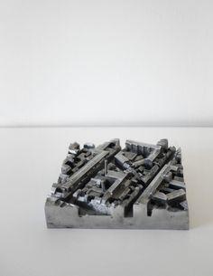 Thesis project 'Copenhagen City Museum' by Hedvig Skjerdingstad. Conceptual site model 1:1000, mold casting aluminum. 21x21cm. www.skjerdingstad.com