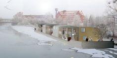 """[...] Der Gendarmenmarkt in Berlin ist zum Beispiel Teil einer Flüchtlingsarchitektur aus dem 17. Jahrhundert. Er wurde in kürzester Zeit für etwa 20.000 Hugenotten aus Frankreich gebaut, die als religiöse Flüchtlinge nach Berlin kamen, mit eigenen Schulen, Kirchen und Wohnungen. Heute gehört das Areal zum Weltkulturerbe. So kann """"Flüchtlingswohnen"""" im positiven Sinne aussehen. [...]"""