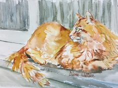 """#watercolor #cat #redcat """"I Give Up"""", 5.5"""" X 7.5"""" $65.00"""