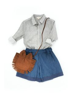 Striped linen shirt, pant-skirt and Lion bag - TALC - Thalia et Bubu