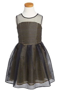 Free shipping and returns on Marciano Metallic Fit & Flare Dress (Big Girls) at Nordstrom.com. She'll be a dancing superstar in this metallic striped dress perfected by a fun fit-and-flare silhouette.