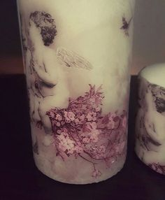 """Decoupage candle """"Angeles """" For your wedding, sweet 16 , Christmas or just a gift , that candles will make your event more warm and cozy. by EvasAntiqueBoutique on Etsy"""