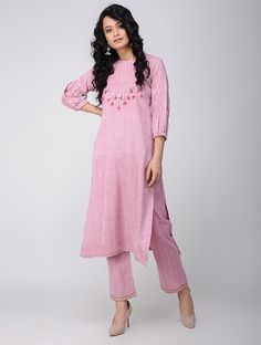 Buy Pink Khadi Cotton Kurta Women Kurtas Online at Jaypore.com