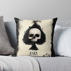 'Ace Skull Card' Throw Pillow by Finding Yourself, My Arts, Skull, Throw Pillows, Art Prints, Printed, Awesome, Unique, Artist