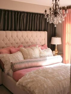 shabby glam bedroom pink ivory white grey. I would replace the pink with a blue color to make it a little more gender neutral