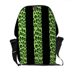 Striped Green Leopard Courier Bag