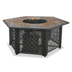 UniFlame 55 in. W Bronze Frame Slate Mosaic Tile Hexagon Mantle LP Gas Fire Pit with Electronic Ignition and Black Fire - The Home Depot UniFlame 21 in. Slate Tile Hexagon Propane Gas Fire Pit in Bronze, Tile Mantle/Steel Base Fire Pit Bowl, Fire Pit Ring, Fire Bowls, Fire Pits, Outdoor Fire Pit Table, Gas Fire Pit Table, Outdoor Living, Outdoor Decor, Outdoor Spaces