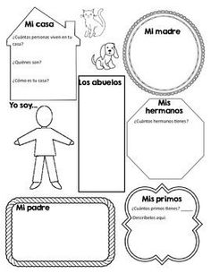 Awesome Graphic Organizer to get your students writing about their family in Spanish. If you use the Realidades textbook it goes along with Chapter 5A. Covers family, tener, possessive adjectives, and descriptive adjectives with Ser. Also a good review at the start of the year in Spanish 2. Could even be used an assessment tool: