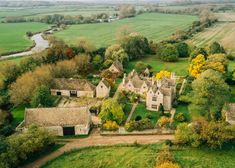 """""""Wonderful aerial view of Kelmscott Manor and the surrounding area. The autumnal colours add to the picturesque view. Chester Street, National Lottery, Blenheim Palace, Take The First Step, Farm Yard, The Visitors, William Morris, Heaven On Earth, Historic Homes"""