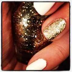 Matte white and gold sparkle accent nail #nails #nailart #summer The Golden Age- Sephora by OPI